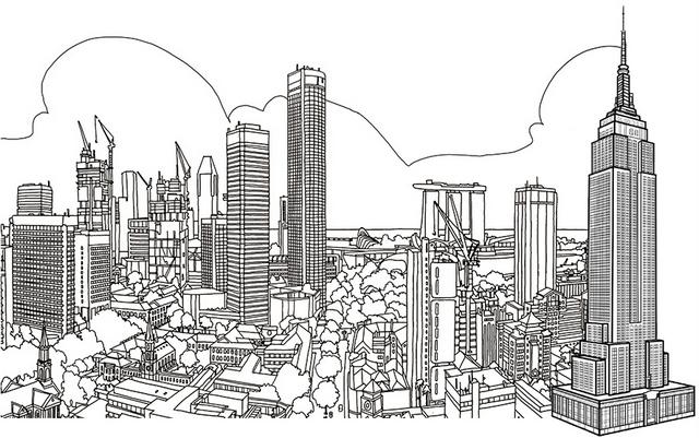cool skyscraper building coloring page