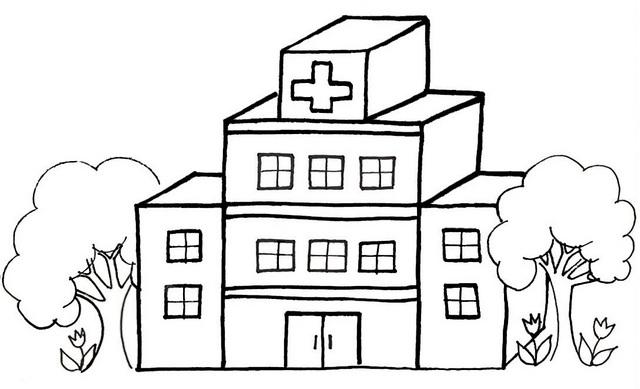 hospital cartoon coloring page