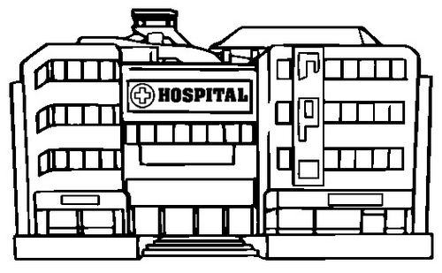 listed hospital building coloring page