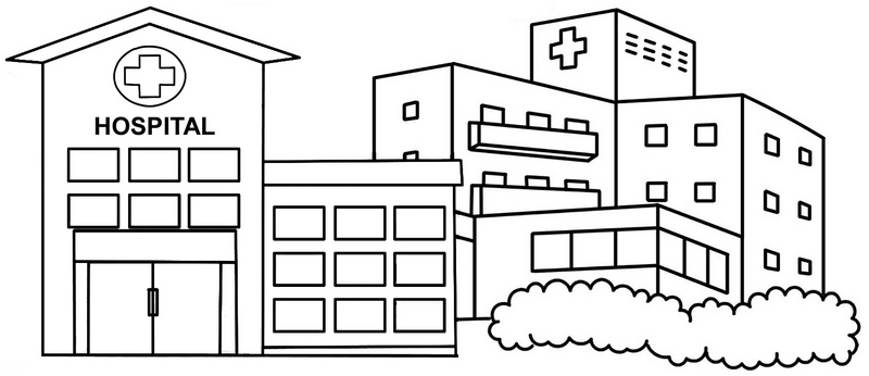modern and large hospital coloring page