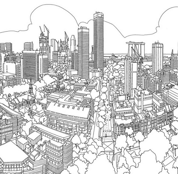 skyscraper urban planning coloring page