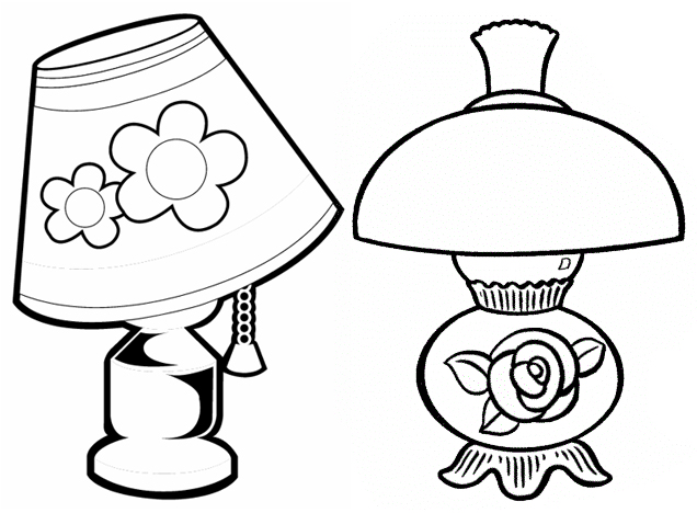 Beautiful Lamp themed flower coloring page