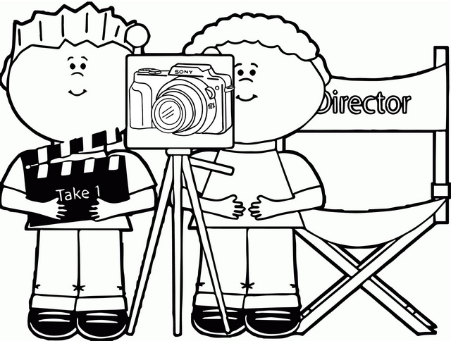 Boys taking a picture and video using camera coloring page