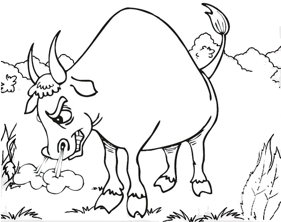 Bull snorting coloring page