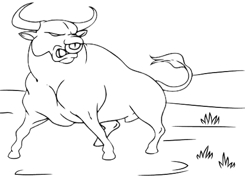 Bull to Perform a buck coloring page
