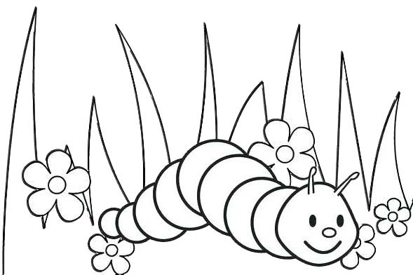 Cartoon Worms creeping up in the garden coloring page