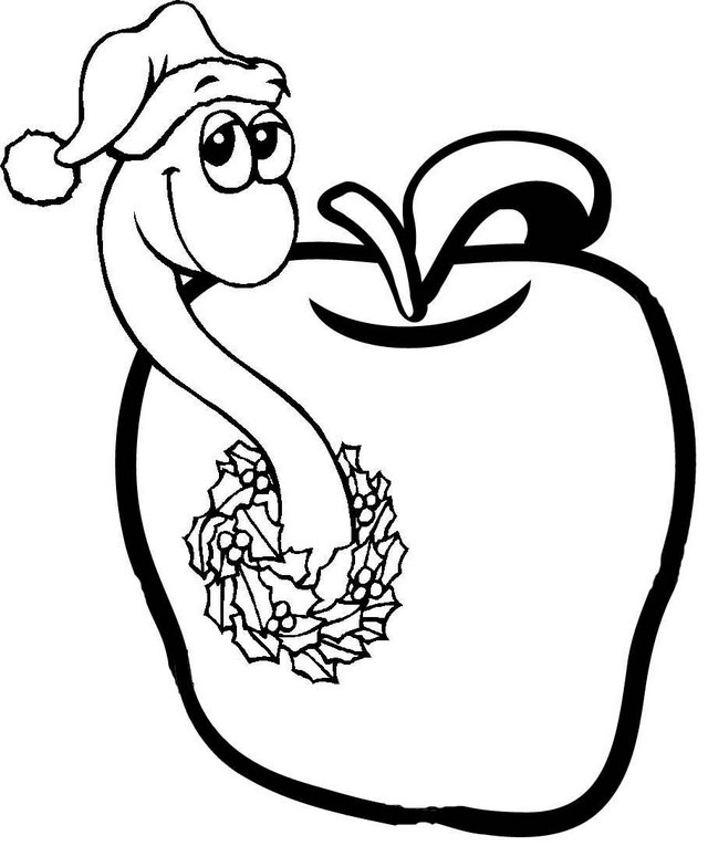 Christmas Worms in Apple Coloring Page