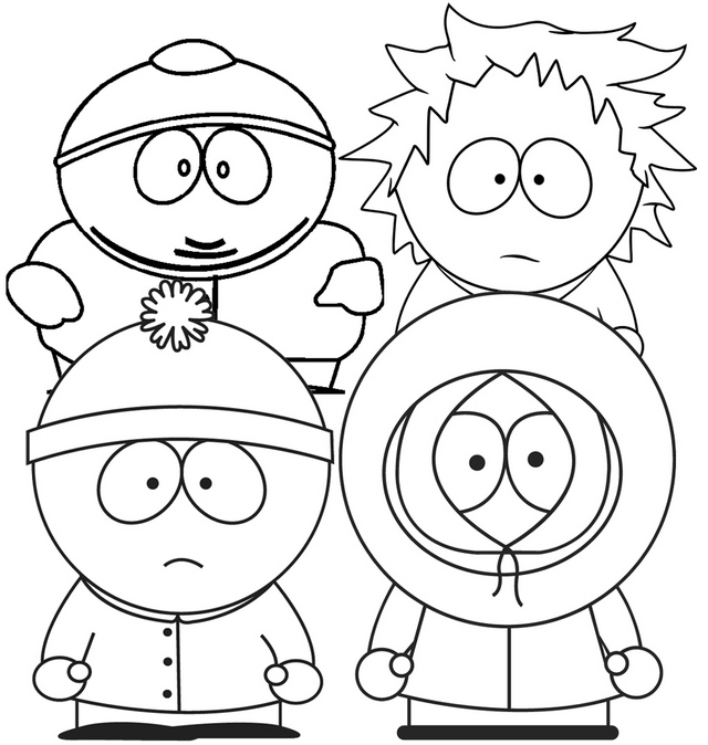 Fun and Cute Stan Kenny Cartman and Tweek from South Park Coloring Page