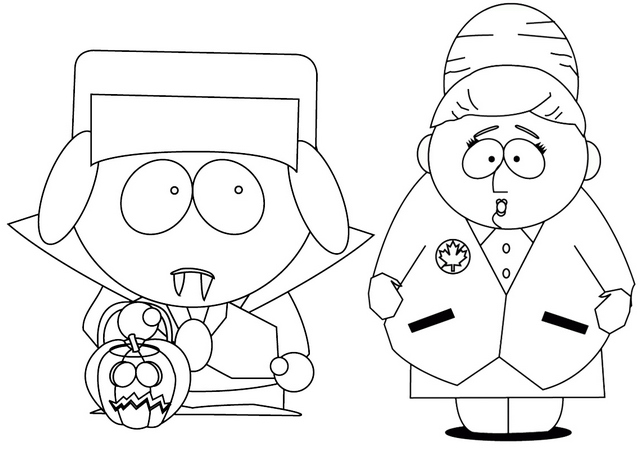 Kyle and Sheila Broflovski from South Park Coloring Page