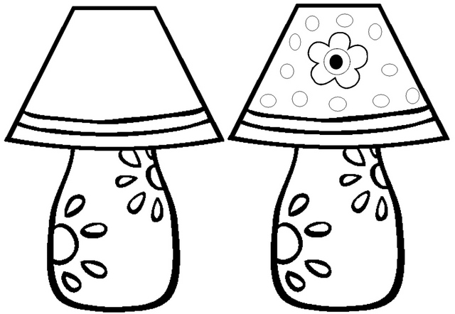 Living room lamp coloring page