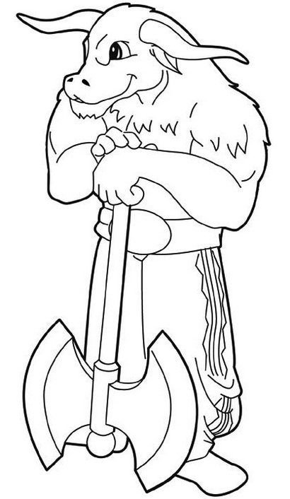 Minotaur Monster DD Coloring Page