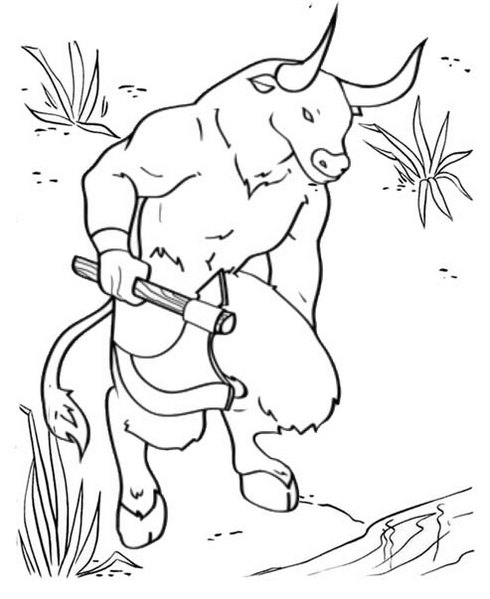 New Minotaur Mythical Creature Coloring Page