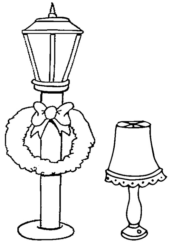 Street Lamp and Bedroom Lamp Coloring Page