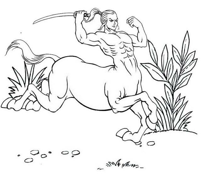 best male centaur coloring pages