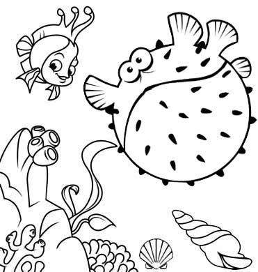 cartoon puffer fish and seashell coloring page of undersea