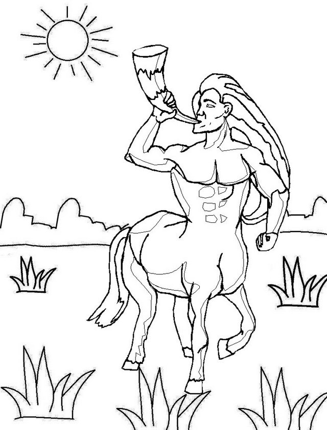 centaur blowing a horn coloring pages