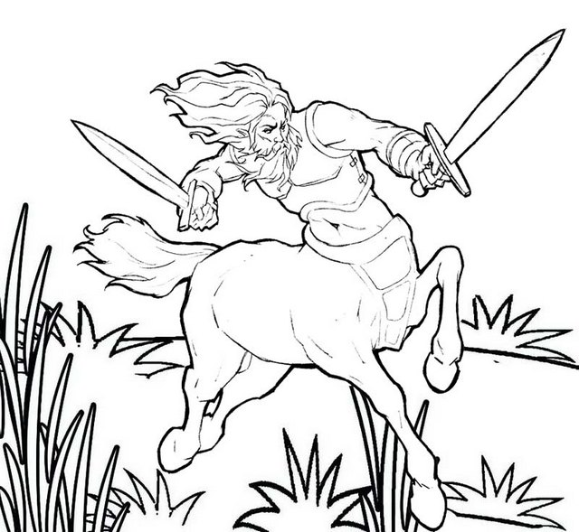 centaur holding swords coloring pages