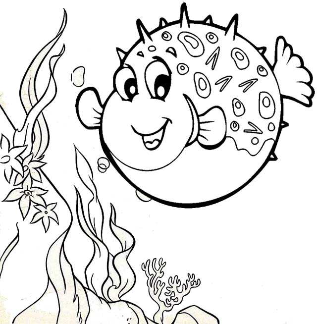 puffer fishr finding nemo coloring page