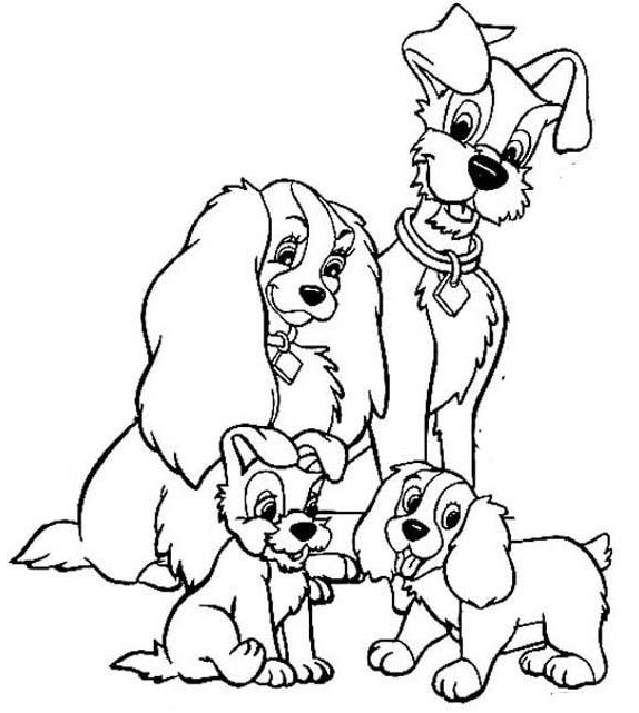 Best Lady and the Tramp Coloring Page for Kids