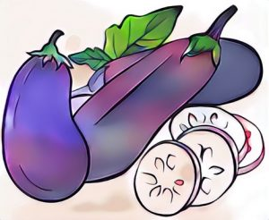 Eggplant coloring work craft result