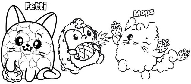 Fetti and Mops Coloring Page of Pikmi Pops