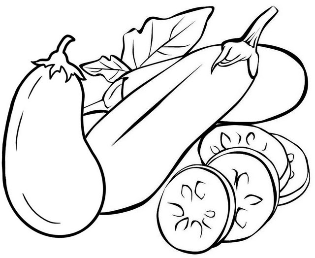 Slices of Eggplant Coloring Page