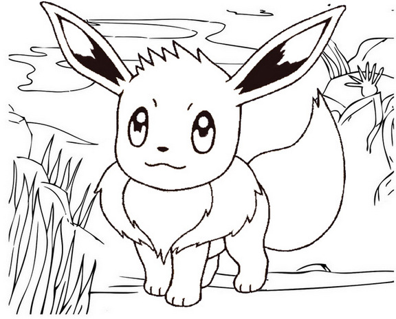 Sun and Moon Eevee Coloring Page