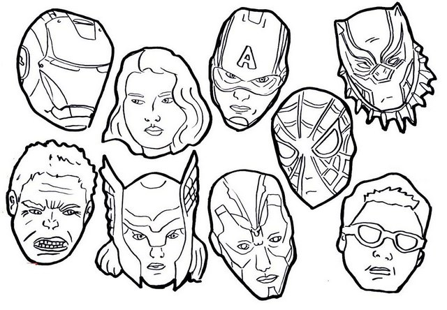 Super Avenger Cartoon Mask Coloring Page
