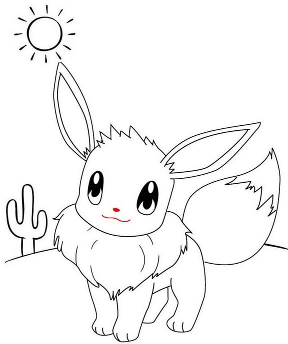 funny eevee pokemon coloring page for kids