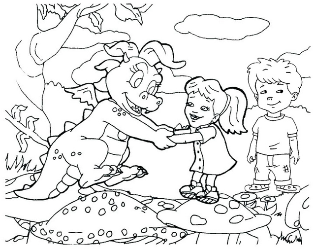 Cassie Emmy and Max coloring pages of dragon tales