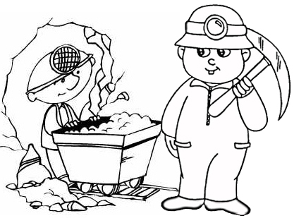 Coal Mining Coloring Page