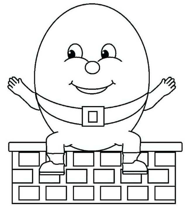 super simple humpty dumpty sitting on a brick wall coloring pages