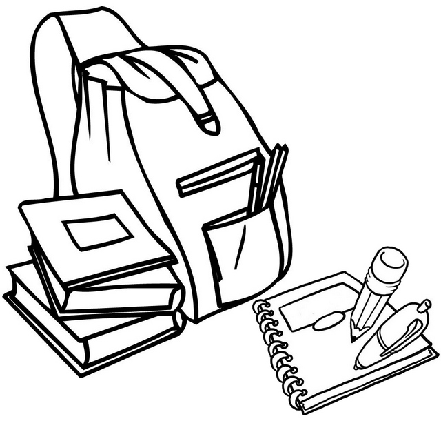 Bag Book and Notes Coloring Page