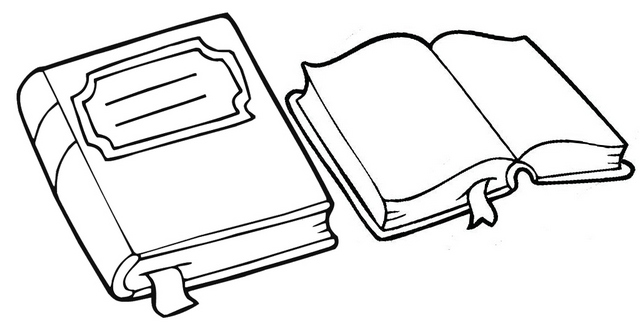 Book Notes and Library Book Coloring Page