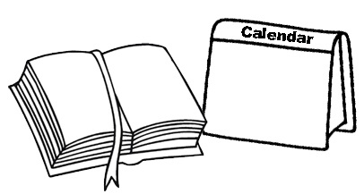 Book and Calendar Coloring Page
