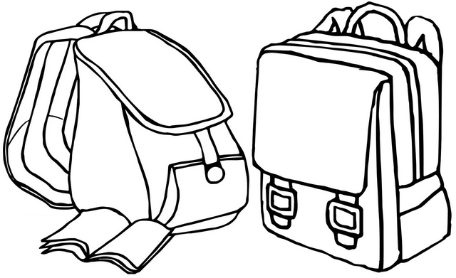 College Bag Coloring Page for Students