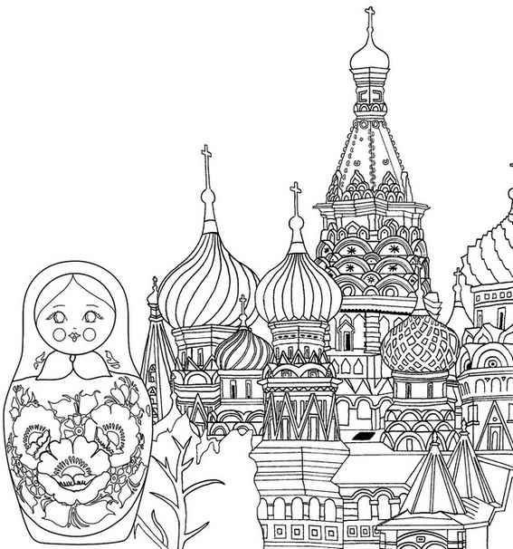 Moscow Russia Icon Coloring Page