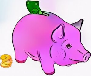 Piggy bank coloring result art from student