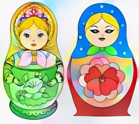 Russian Doll Coloring Art for Example Color