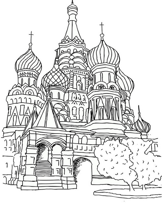 Saint Basils Cathedral Moscow Coloring Page