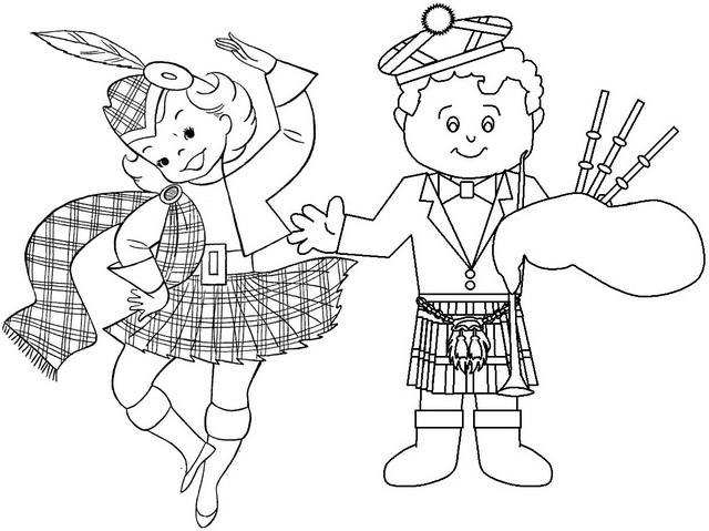 cartoon scottish dance coloring page