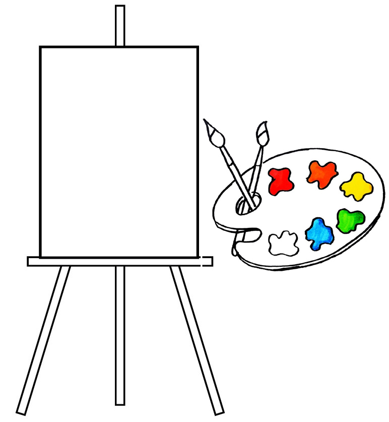 palette and canvas coloring page of painting