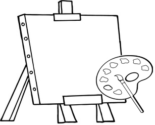 palette and canvas ready to use coloring page