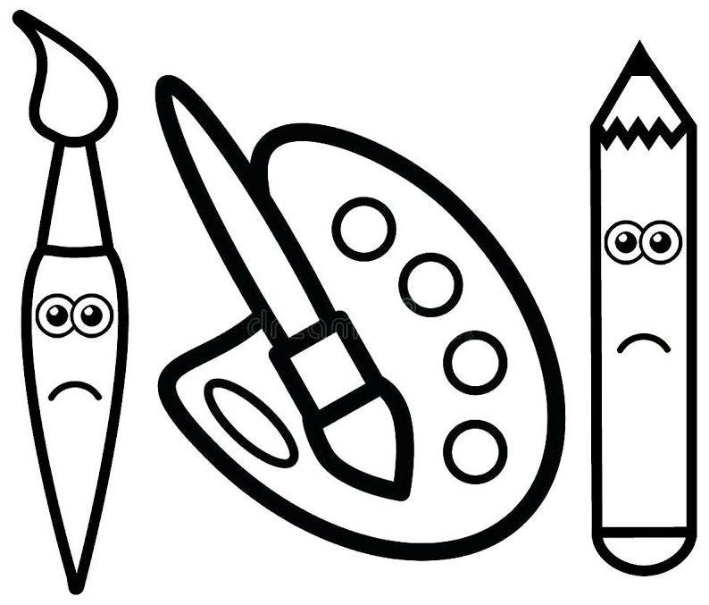 pencil and palette for painting coloring page