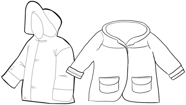 winter jacket for kids coloring page idea