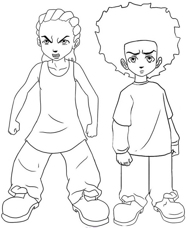 Huey and Riley Coloring Page of Boondocks