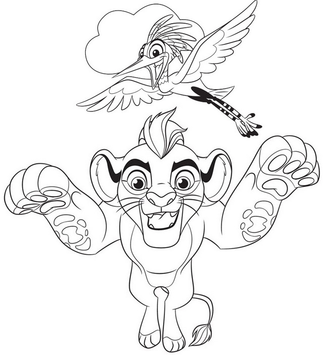 Kion and Ono Coloring Page of Lion Guard