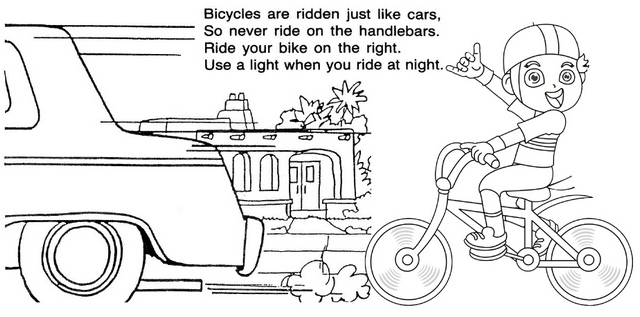 Safety Riding Bicycle Coloring Page