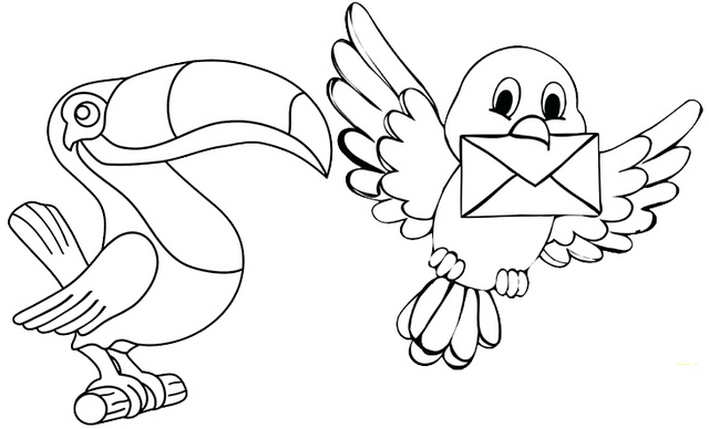 Toucan Cartoon Coloring Page