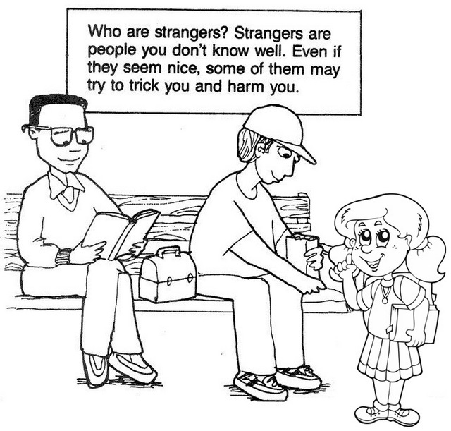 beware of strangers coloring page